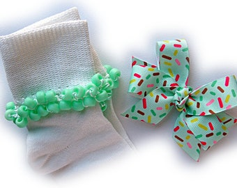 Kathy's Beaded Socks - Sprinkles Socks and Hairbow, girls socks, pony bead socks, school socks, seafoam socks