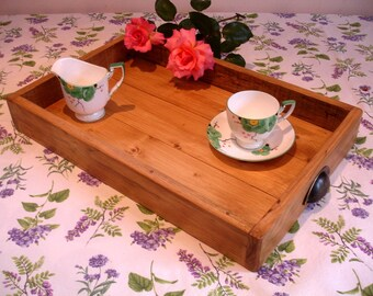 Rustic Wooden Tray, handmade wooden tea tray, serving tray, breakfast tray, garden tray, wedding serving tray, from reclaimed wood