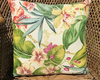 Floral Linen Outdoor Cushion Cover
