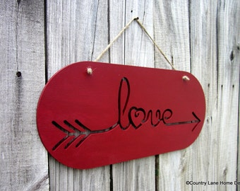 Love Sign, Red, Painted Wood, Love Arrow Sign, Laser Cut Sign, Love, Laser Cut Out, Jute Hanger, Hand Painted