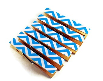 Altered Clothespins Decorative Clothespins  in Zig Zag Blueberry