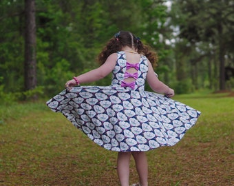 Girls summer dress - girls floral dress - bow back dress - summer dress for girls - girls outfit for spring - twirl dress