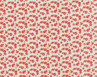 Red Floral on Aqua - Little Ruby - by Bonnie and Camille for Moda