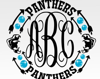Panthers,school, collage, Monogram Frame Digital Design Svg, Eps, Dxf, and Jpeg Format for Cricut and Silhouette Software