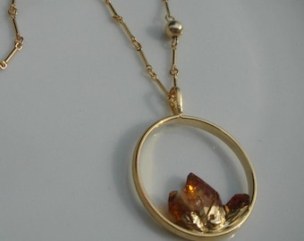 Gold filled chain with raw citrine with a great design