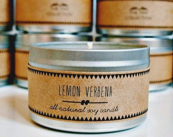 LEMON VERBENA // Soy Candle. Natural Candle. Scented Candle. Eco Friendly. Vegan Friendly. Natural Gift. Custom Gift.