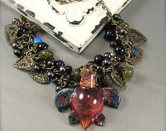 Fancy, Turtle charm Bracelet, Chunky charm bracelet, lampwork turtle, honu, Coral, Blue, Green, gemstone, crystal, pearl, By Xanna