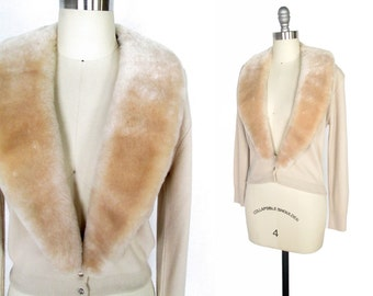 Vintage 1950s Sweater / Faux Fur Collar 1950s Cardigan with Rhinestones / small