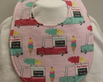 Ice Cream Truck Flannel / Terry Cloth Bib