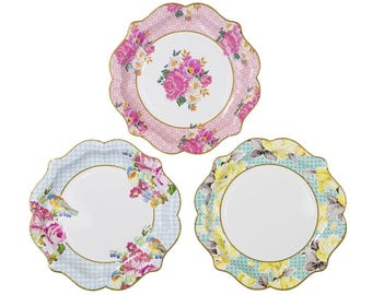 Paper Plates | Party Plates | Floral Paper Plates | Garden Party | Shabby Chic Party | Tea Party Paper Plates | Wedding | Bridal Shower