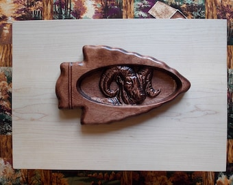 "Ram Wood Carving inside Arrowhead Wall Hanging - Rustic Cabin Decor Ram- Wood Wall Decor Ram -Wood Ram - Log Cabin Art 8"" x 6"" x 1"" Cherry"