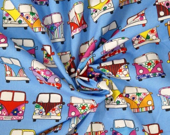 Handmade Cushion Cover - Rose & Hubble - VW Campervan Retro - Various Colours and Sizes Pale Blue