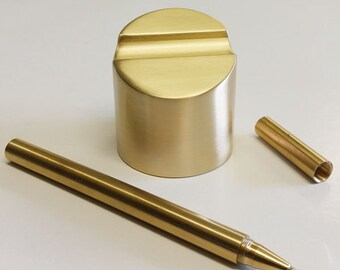 Brushed Brass Paperweight Pen Holder with Brass Pen