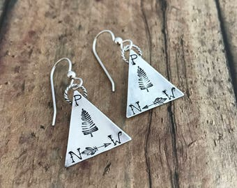 Pacific Northwest Pine Tree and Arrow Earrings, Hand Stamped, Sterling Silver, Pine Tree, PNW, Arrow Mountain Earrings