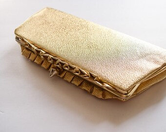 1960s Clutch | Gold Ruffles | Vintage Purse 60s Metallic Gold Vinyl Evening Bag Kiss Lock Hinge Frame with Optional Metal Chain Handle