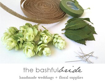 8 hops boutonniere, kit, boutonniere kit, greenery wedding, rustic boutonniere, faux hops, silk hops, green wedding, shoes, green hops