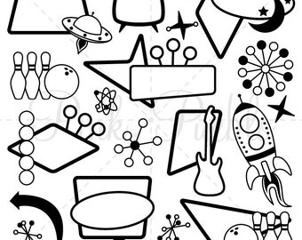 Retro Clipart Clip Art, Mod or Vintage Clipart Clip Art - Commercial and Personal Use