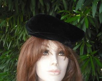 Vintage 50s/60s Hat, Black Velvet Hat, Melinda Original, Formal Velvet Hat, NOS, Original Price Tag