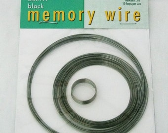 Memory Wire 5 Assorted Sizes 10 loops Each Black Oxide Color