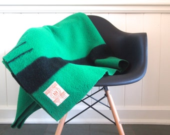vintage 3.5 point (twin) kelly GREEN authentic wool HUDSON'S BAY blanket