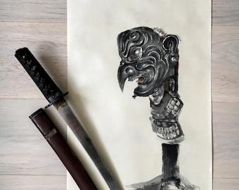 TENGU, Japanese Demon, Ninja, Samurai, Japanese Armor, Menpo, Original Ink Painting, Sumi-e, Japan Art, Oni, 47 Ronin