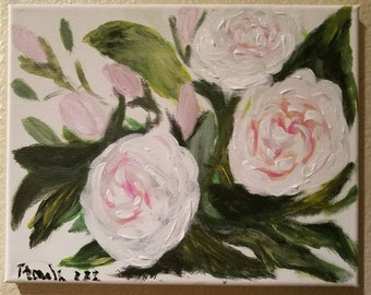 Pink Rose Painting, Original, Floral Art, Canvas, Home Decor. Mother's Day Gift, Gifts For Her, Wedding Gift