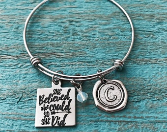 She believed she, could so she did, Graduation Gift, Congratulations, Grad Gift, College Student, Inspirational Jewelry, Charm Bracelet