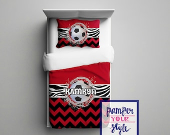 Soccer Bedding for Girls - Soccer Bedding for Boys - Red and Black Soccer - Personalized Soccer Bedroom
