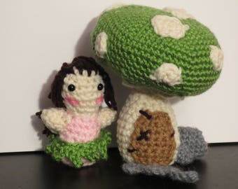 Fairy and Toadstool crochet amigurumi playset
