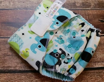 One Size OS Two Step Cloth Diaper Cover Aqua Elephants PUL
