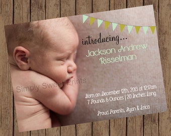 Birth Announcement | Introducing New Baby | Blue & Green Bunting (5x7)
