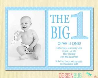 Boy invitation 1st birthday teddy bear invitation 5x7 1 year the big one first birthday baby boy invitation custom photo invite blue polka dots filmwisefo Images