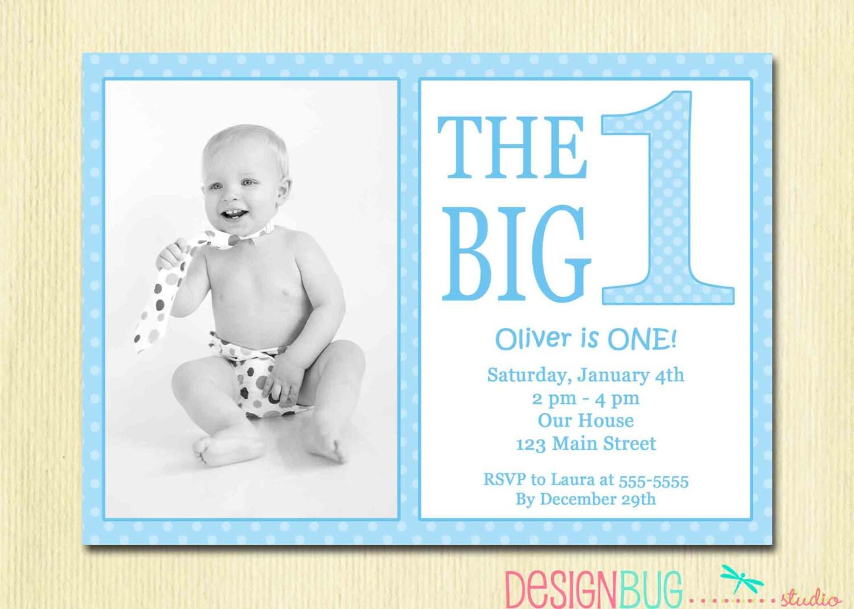 The big one first birthday baby boy invitation custom photo zoom stopboris Images