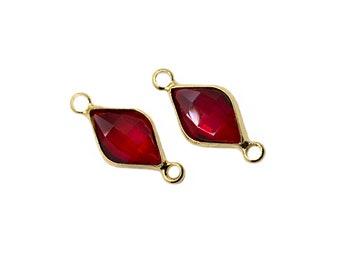 3 pcs 21x9mm Cz Red Diamond Pendant | Gold Plated Diamond Necklace, Cubic Zirconia Diamond, Mini Bracelet Charms,Glass Pendant,Stone Pendant