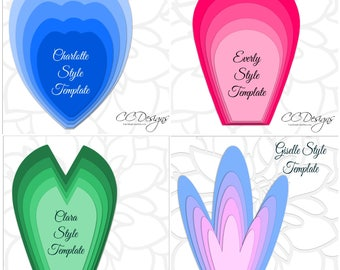 Set of 4 Large Paper Flower Templates, Printable PDF Flower Templates, Giant DIY Flower Patterns and Tutorials