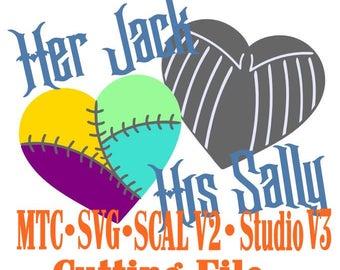 SVG Cut File Jack & Sally Valentine Heart Set #01 Wedding Haunted Mansion Anniversary Cut Files MTC SvG SCAL