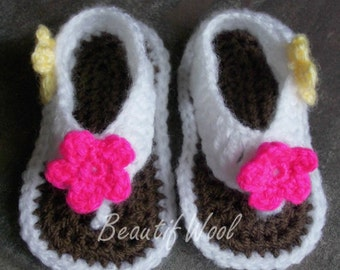 Crochet baby toe post sandals - Any colour made to order