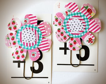 Set of 2 Large Scrappy Flower Planner Clips/Bookmarks