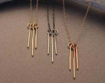 Minimalist fringe necklace in sterling silver, gold filled or rose gold filled- Sunbeam modern spike fringe pendant