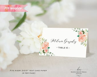 Printable Pleach Floral Tent Place Card, Editable PDF Template, Wedding Reserved Card Food Label Fit Avery Paper, DIY Instant Download#02#12