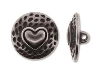 Button Heart 17mm Antique Silver, LB154AS, Qty 1