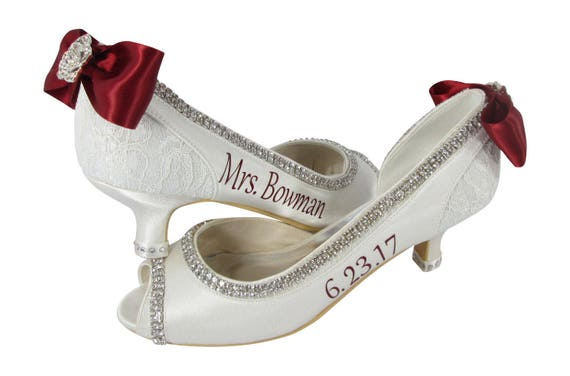 and and Bridal embellishment with Peep Heels name Champagne Toe Pumps Mrs lace with Ivory Wedding last satin rhinestone bows 7IqUxwd