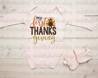 Thanksgiving/'My First Thanksgiving' with Turkey Vinyl Decal/T-Shirt/HTV/Baby's 1st Thanksgiving