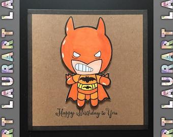 Orange batman birthday card