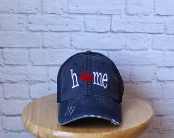 Monogrammed Trucker Hat - Texas Home Hat - Texas Hat - Distressed Denim - Ladies Hat - Trucker Hat