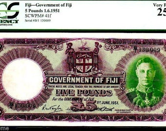 """FIJI P41f 5 POUNDS 1951 """"king george vith"""" pcgs 25! only 3 graded! rare!"""