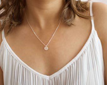 silver circle necklace, simple silver necklace, delicate, dainty, personalized disc pendant, layering, silver, gold, rose gold • NDV90