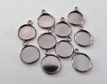 10 x 12mm Silver stainless steel 1 loop hanging bezels DIY jewellery