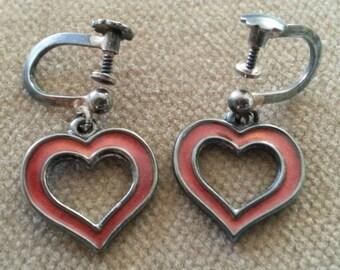 Vintage Hroar Prydz Sterling Enamel Heart Earrings