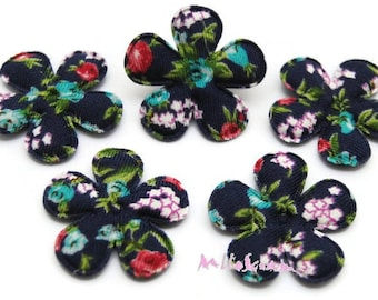 Set of 5 flowers patterned floral fabric vintage embellishment, scrapbooking, card, sewing 2 (ref.610) *.